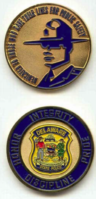 Delaware State Police Trooper Head Challenge Coin Gold Tone Finish