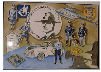 Fred Rothanbush signed and numbered print commemorating the 75th Anniversary of the Delaware State Police